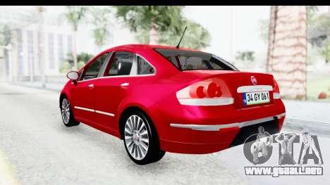 Fiat Linea 2015 v2 para GTA San Andreas vista posterior izquierda