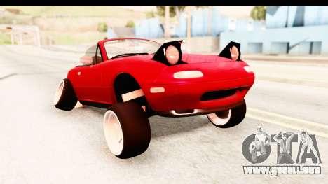 Mazda Miata with Crazy Camber para GTA San Andreas vista posterior izquierda