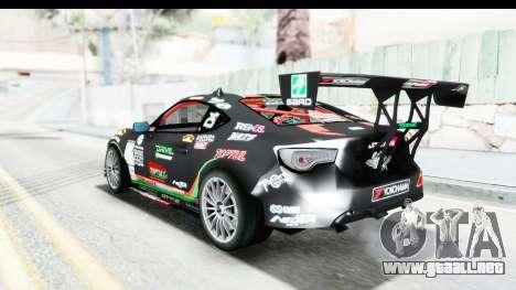 D1GP Toyota 86 2015 DRIVE para GTA San Andreas vista posterior izquierda