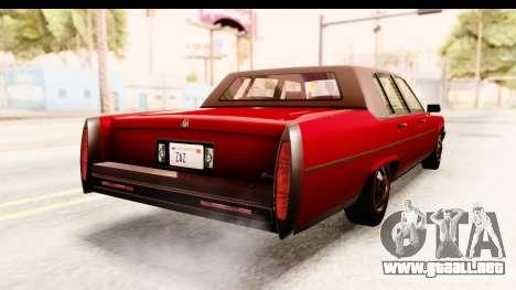 GTA 5 Albany Emperor IVF para GTA San Andreas vista posterior izquierda