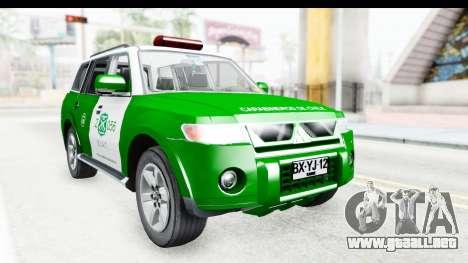 Mitsubishi Montero Carabineros de la Sección de  para la visión correcta GTA San Andreas