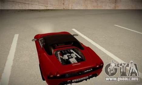 Ferrari F430 Spider para GTA San Andreas vista posterior izquierda