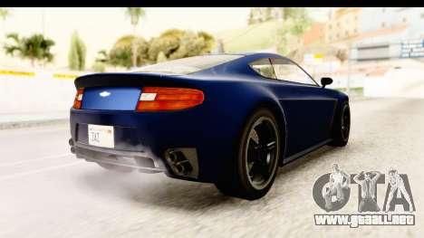 GTA 5 Dewbauchee Rapid GT para GTA San Andreas vista posterior izquierda