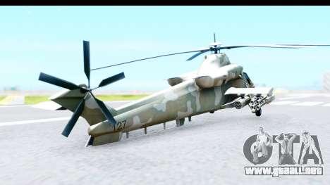Denel AH-2 Rooivalk para GTA San Andreas vista posterior izquierda