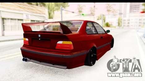 BMW M3 E36 Spermatozoid Edition para GTA San Andreas vista posterior izquierda