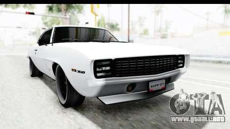 Chevrolet Camaro SS 1968 White Edition para la visión correcta GTA San Andreas