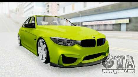 BMW M3 F30 Hulk para GTA San Andreas vista posterior izquierda