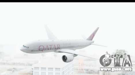 Boeing 777-200LR Qatar Airways para GTA San Andreas vista posterior izquierda
