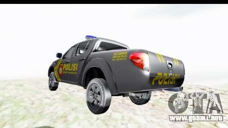 Mitsubishi L200 Indonesian Police para GTA San Andreas vista posterior izquierda