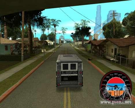 El velocímetro en el estilo de la bandera de arm para GTA San Andreas tercera pantalla