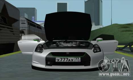 Nissan GT-R R35 Green Screen para GTA San Andreas vista posterior izquierda