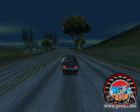 El velocímetro en el estilo de la bandera de arm para GTA San Andreas segunda pantalla