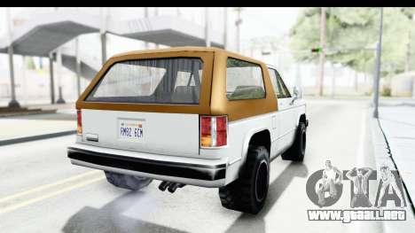 Ford Bronco from Bully para la visión correcta GTA San Andreas