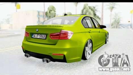 BMW M3 F30 Hulk para GTA San Andreas left