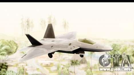 Lockheed Martin F-22 Raptor para GTA San Andreas vista posterior izquierda