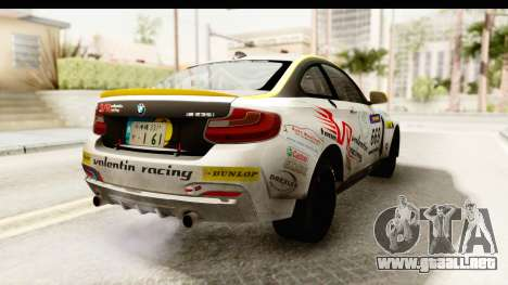 BMW M235i Coupe para GTA San Andreas vista posterior izquierda