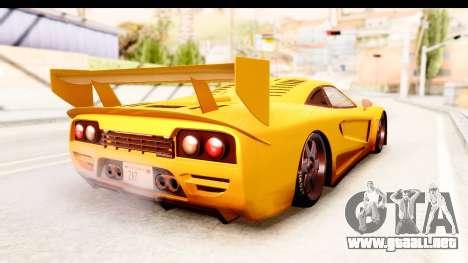 GTA 5 Progen Tyrus SA Style para GTA San Andreas vista posterior izquierda