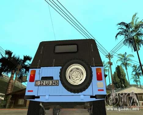 Luaz 969 Armenian para GTA San Andreas vista posterior izquierda