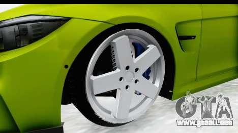 BMW M3 F30 Hulk para GTA San Andreas vista hacia atrás