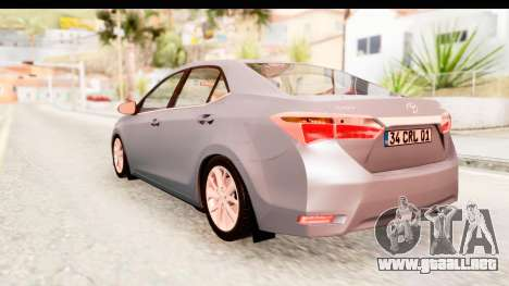 Toyota Corolla 2014 IVF para la visión correcta GTA San Andreas