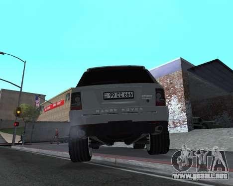 Range Rover Armenian para GTA San Andreas vista hacia atrás