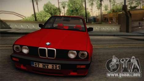 BMW M3 E30 1991 v2 para GTA San Andreas vista posterior izquierda