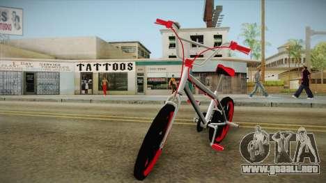 Dark Red BMX para GTA San Andreas vista posterior izquierda