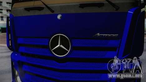 Mercedes-Benz Actros Mp4 v2.0 Tandem Steam para GTA San Andreas vista hacia atrás