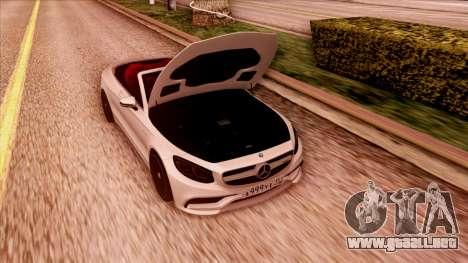 Mercedes-Benz S63 para GTA San Andreas vista hacia atrás