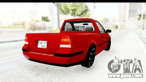 Volkswagen Golf Mk4 Pickup para GTA San Andreas vista posterior izquierda