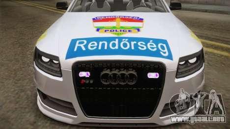 Audi RS6 Hungarian Police para GTA San Andreas vista posterior izquierda