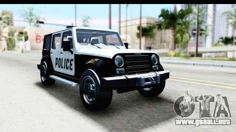 Canis Mesa Police para GTA San Andreas vista posterior izquierda
