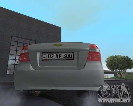 Chevrolet Aveo Armenian para el motor de GTA San Andreas