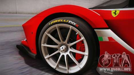 Ferrari FXX-K 2015 PJ para GTA San Andreas vista posterior izquierda