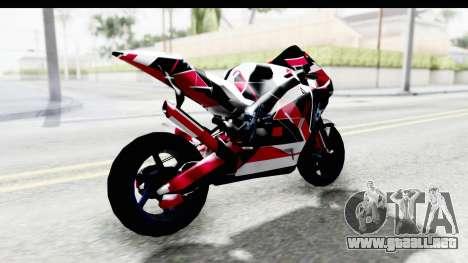 Dark Smaga Motorcycle with Frostbite 2 Logos para GTA San Andreas vista posterior izquierda
