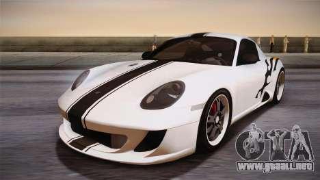 Ruf RK Coupe (987) 2007 HQLM para GTA San Andreas vista hacia atrás