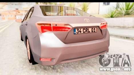 Toyota Corolla 2014 IVF para vista lateral GTA San Andreas