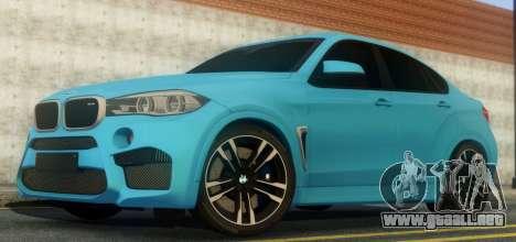 BMW X6M F86 para GTA San Andreas vista hacia atrás