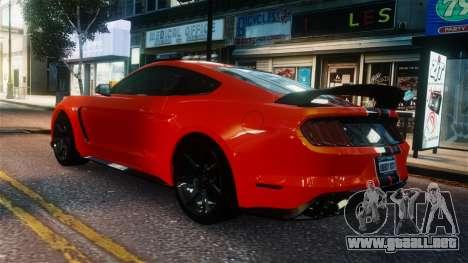 Shelby GT350R 2016 para GTA 4 Vista posterior izquierda