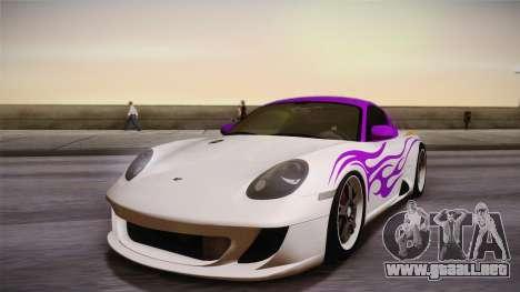 Ruf RK Coupe (987) 2007 HQLM para visión interna GTA San Andreas