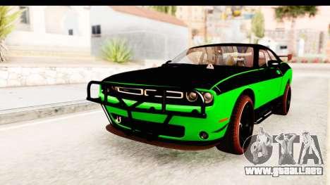 Dodge Challenger F&F 7 para GTA San Andreas vista posterior izquierda