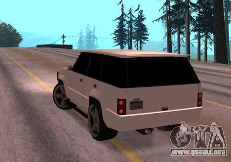 Huntley Rover para GTA San Andreas vista posterior izquierda
