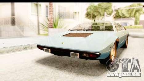 Lamborghini Uracco P300 39 para GTA San Andreas vista posterior izquierda