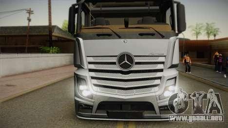 Mercedes-Benz Actros Mp4 6x4 v2.0 Steamspace v2 para GTA San Andreas vista posterior izquierda