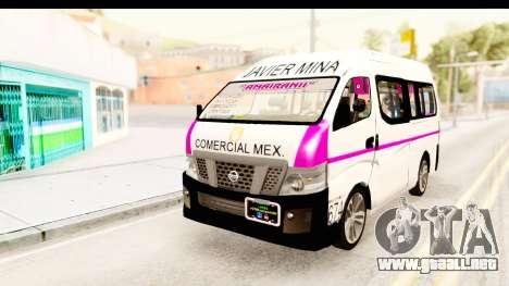 Nissan NV350 Urvan Comercial Mexicana para GTA San Andreas vista posterior izquierda
