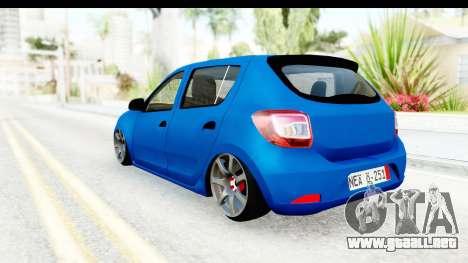 Dacia Sandero 2013 para GTA San Andreas vista posterior izquierda