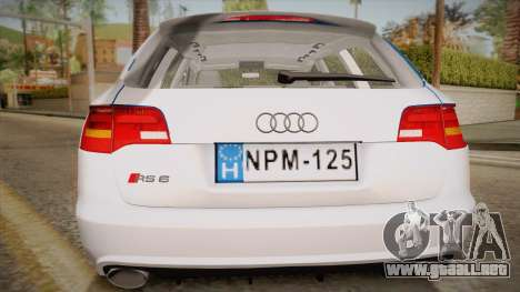 Audi RS6 Hungarian Police para la visión correcta GTA San Andreas