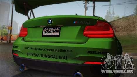 BMW M235i 69Works para GTA San Andreas vista hacia atrás