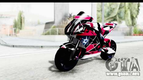 Dark Smaga Motorcycle with Frostbite 2 Logos para GTA San Andreas vista hacia atrás