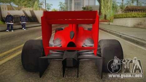 Lotus F1 T125 para GTA San Andreas vista hacia atrás